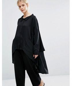 Zacro | Oversize-Рубашка Из Смешанных Тканей С Асимметричной Кромкой