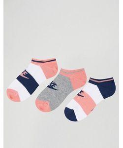 Nike | 3 Пары Носков С Синей И Розовой Отделкой