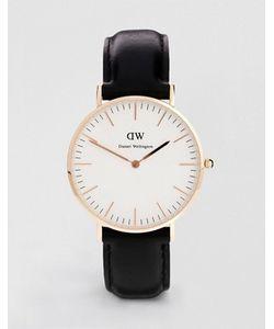 Daniel Wellington   Черные Классические Большие Часы С Отделкой Из Розового Золота