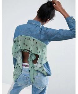 ASOS Made In Kenya   Джинсовая Рубашка С Открытой Спинкой И Оборкой