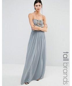 Maya Tall | Длинное Платье-Бандо С Вышивкой