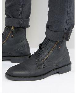 Asos | Черные Замшевые Ботинки На Шнуровке С Молнией