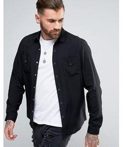 Asos | Черная Вискозная Рубашка Классического Кроя В Стиле Вестерн