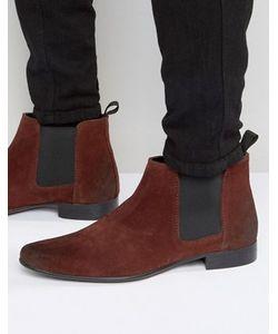 Asos | Бордовые Замшевые Ботинки Челси