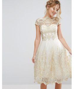 Chi Chi London | Кружевное Платье Миди Для Выпускного С Вырезом Лодочкой