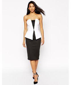 Asos | Черно-Белое Платье Миди С Баской Premium Черно-Белый
