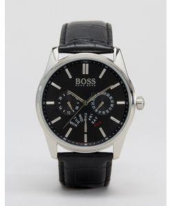 Hugo | Часы С Хронографом И Кожаным Ремешком 1513124 Черный
