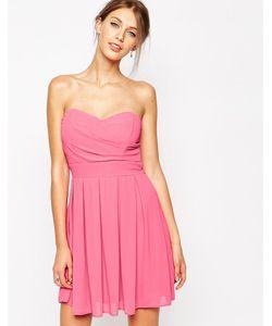 TFNC | Шифоновое Платье Для Выпускного С Мягкими Складками Розовый