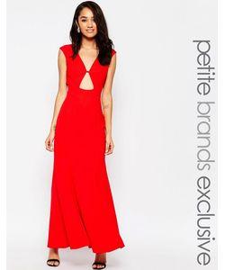 Jarlo Petite | Платье Макси C Вырезом Замочная Скважина Спереди Красный