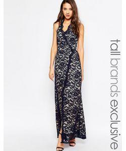 Jarlo Tall | Кружевное Платье Макси Для Высоких С Горловинойхалтер Темно-Синий
