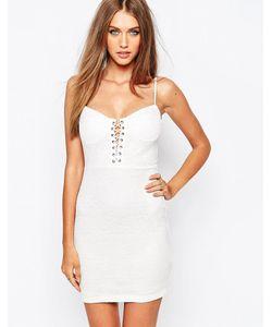 MISSGUIDED | Платье Мини Со Шнуровкой Белый