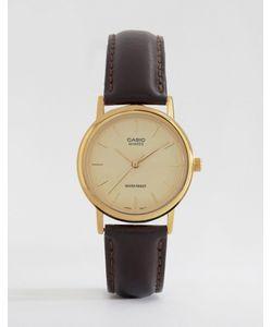 Casio   Часы С Коричневым Кожаным Ремешком Mtp1095q-9a Коричневый