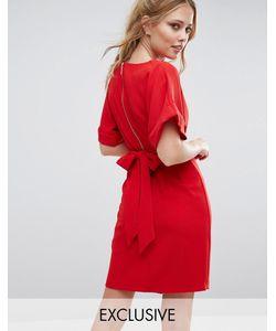 Closet London | Платье Миди С Завязкой Сзади И Разрезом Спереди Closet Красный