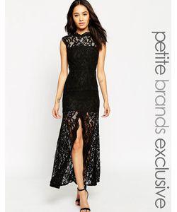 Jarlo Petite | Кружевное Платье Макси С Высокой Горловиной Черный