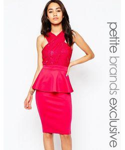 Lipstick Boutique Petite   Кружевное Облегающее Платье С Запахом И Баской