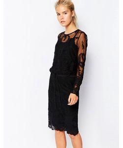 Navy | Кружевное Платье Миди С Вышивкой И Шнурком На Талии London