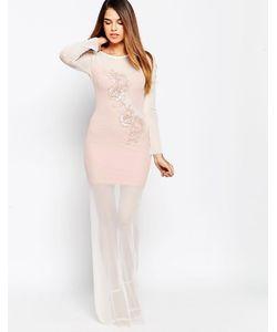 TFNC | Платье Макси С Аппликацией Телесный
