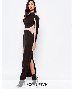 8th Sign | Платье Макси С Сетчатыми Вставками The Сплошной Черный
