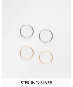 Asos | Комплект Из 2 Серебряных Серег-Колец Диаметром 9 Мм Смешанные