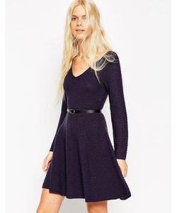 Asos | Короткое Приталенное Платье С Ремешком Темно-Синий