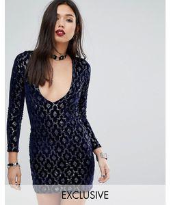 Motel | Платье Мини С Глубоким Декольте И Отделкой Пайетками Midnight