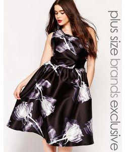 Chi Chi Plus   Платье Миди На Одно Плечо С Принтом Chi Chi London Plus