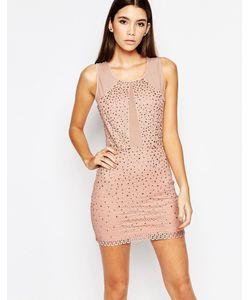 WOW Couture | Платье Мини С Сетчатыми Вставками И Стразами Сумеречно-Розовый