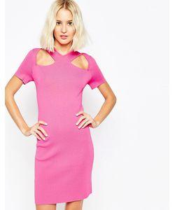 Asos | Структурированное Платье С Декоративными Вырезами И Молнией Розовый