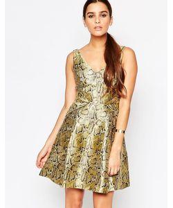 Adelyn Rae | Золотистое Приталенное Платье Золотой