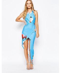 Ginger Fizz | Платье-Футляр С Вырезом Цветами И Асимметричной Юбкой Синий