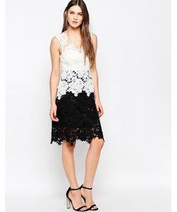 STUDIO . 75 | Кружевное Двухцветное Платье Roseali Черный