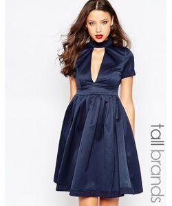 STUDIO . 75 | Приталенное Платье С Глубоким Вырезом Tall Minnie Темно-Синий