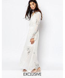 White Sand | Шифоновое Платье Макси С Кружевной Отделкой Excalibur