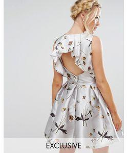 Hope and Ivy   Атласное Платье Мини С Цветочным Принтом Серый
