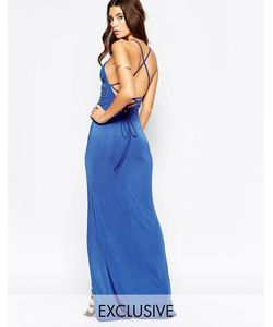 NaaNaa | Платье Макси С Запахом И Бретелями Сзади Кобальтовый