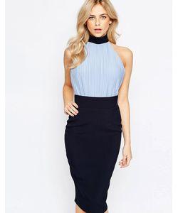 Vesper | Платье-Футляр С Лифом-Блузой Высокой Горловиной