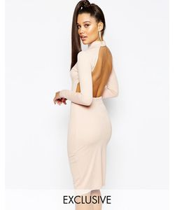 NaaNaa   Облегающее Платье Миди С Высокой Горловиной Телесный
