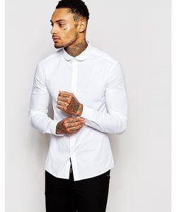 Asos | Белая Зауженная Рубашка С Закругленным Воротником Белый
