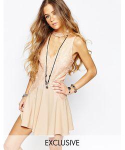 Reclaimed Vintage | Платье С Кружевной Вставкой Спереди Телесный