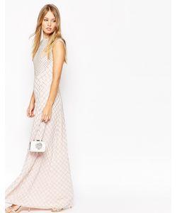 Needle & Thread | Платье Макси С Отделкой Розовый Выбеленный