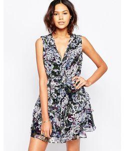 Greylin | Шелковое Платье С Цветочным Принтом Chennai Сливовый