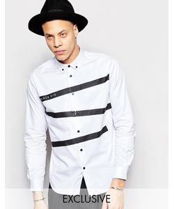 Black Eye Rags | Рубашка Классического Кроя С Принтом Лент Белый