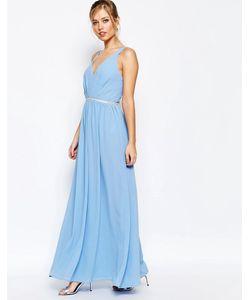 JARLO | Платье Макси Из Шифона Бледно-Синий