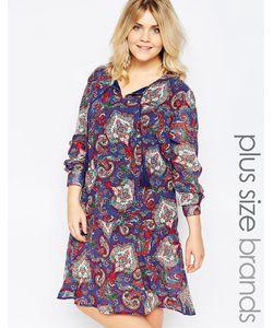 Diya | Свободное Платье С Удлиненной Кромкой И Принтом Пейсли Plus