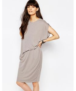 Paisie | Трикотажное Платье С Асимметричной Сборкой На Талии Сбоку Серый