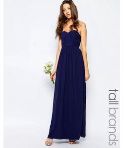TFNC Tall | Шифоновое Платье Макси В Стиле Бандо Темно-Синий