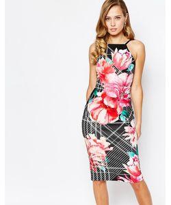 Ginger Fizz | Платье Миди С Броским Цветочным Принтом Многоцветный Цветочный