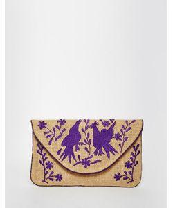 Moyna | Джутовый Клатч С Фиолетовой Вышивкой Мульти