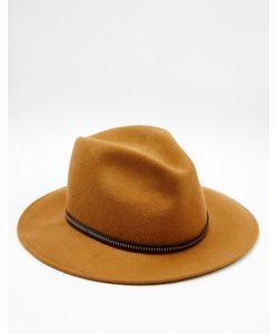 Catarzi | Мягкая Фетровая Шляпа С Кожаной Отделкой