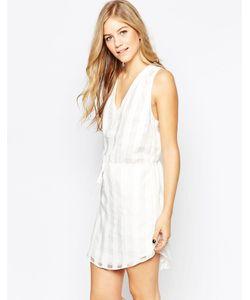 Adelyn Rae | Белое Платье В Клетку С Завязкой На Талии